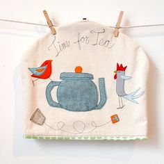 Extra Large Felt Applique Birdy BIrd tea cozy by jennyjen42