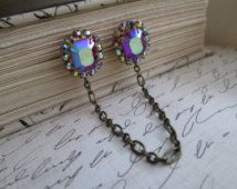 Sweater Guard / Sweater Clip: Repurposed Vintage AB Aurora Borealis Rhinestone Cardigan Clip. Blouse Clip, Antique Bronze
