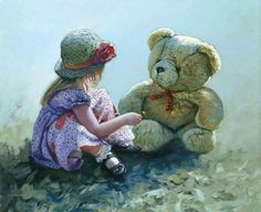 Dont forget teddy is your best friend. 'Especially For You' by Keith Proctor. Painting For Kids, Painting & Drawing, Art For Kids, Children Painting, Cute Bear, Diy Craft Projects, Crafts, Antique Pictures, Amazing Paintings