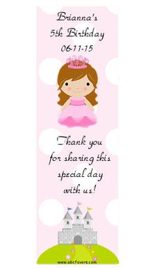 Princess birthday party bookmarks personalized for your little girl!