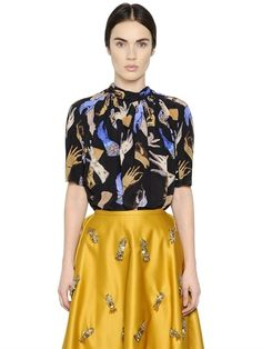 GLOVES PRINTED SILK CREPE DE CHINE TOP