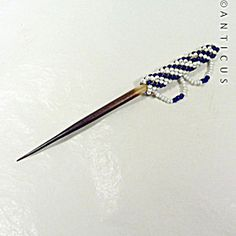 Hatpin or Chignon Pin, Porcupine Quill and Beadwork.
