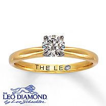 14K Yellow Gold 1/2 Carat Leo Diamond Solitaire. Only kay's would have a ring so simple for $2,299.99 xD But still beautiful <3