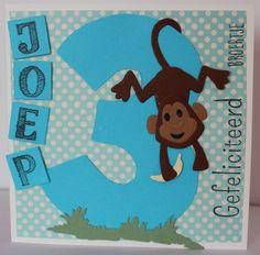 Gemaakt door Sophie # Verjaardagskaart met aapje - voor Joep