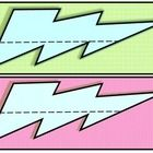 Printable lightning bolt name tags. Perfect for the super hero themed classroom! Bright colors with back accents. 2 tags per page....