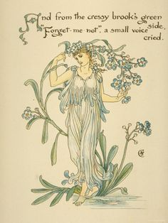 Cressy Brook's Green Side/Forget Me Not Written and Drawn by Walter Crane Photographic Print at AllPosters.com