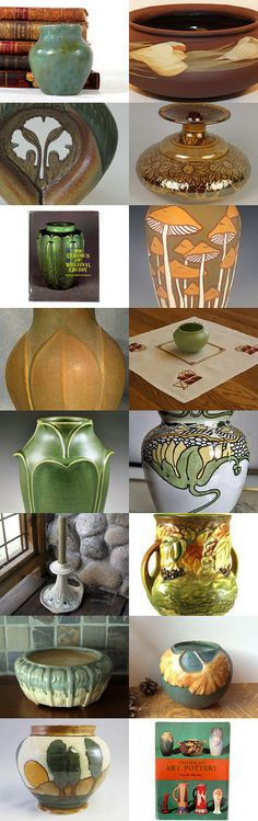 Arts and Crafts Bungalow: Pottery by allan elliott on Etsy--Pinned with TreasuryPin.com | Frederick Alfred Rhead, William Morris, Ginkgos, Mushrooms, Blackberry, Weller, Roseville, Door Pottery, Clifton, William H. Grueby, American Art Pottery, Sweet Earth Pottery, Into the Woods Pottery, JW Art Pottery | Eric Olson - Common Ground Pottery | #CAPCA | Craftsman | House