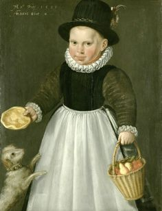 A little Boy with a Dog, 1581 – by Jacob Willemsz, Delft (Dutch artist, c 1550-1601 | It's About Time: Dog Days of Summer - 16-17C Children & Dogs