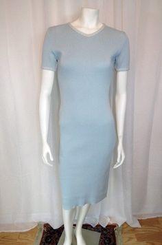 Guy Laroche beautiful Vintage pastel blue knit dress