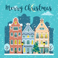 Buy Winter Christmas City Street Vector Landscape by primulakat on GraphicRiver. Merry Christmas card and banner. Merry Christmas Card, Noel Christmas, Christmas Design, Winter Christmas, Vector Christmas, Winter Illustration, House Illustration, Christmas Illustration, City Drawing