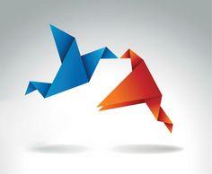 Free origami birds kissing each other. Perfect illustration symbolizing love and affection, ideal symbolic graphics for Valentine's day or wedding invitation.