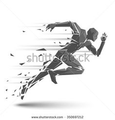 Geometric running man - stock vector