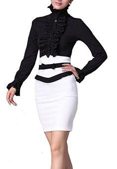 HIMONE Damen Aufstehen Halsband Lotus Rüsche Shirts Bluse: Amazon.de: Bekleidung