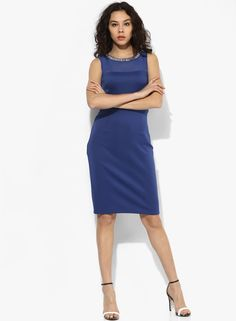 ced27ae9ab Buy DOROTHY PERKINS Blue Coloured Embellished Bodycon Dress Online -  3231206 - Jabong