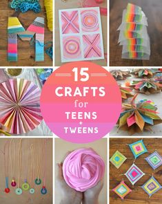 15 crafts for teens a tweens, including yarn crafts, garlands, painting, and drawing.
