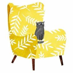 Kitty cat on a soft yellow chair | Illustration