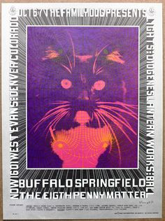 Psychedelic Cat Buffalo Springfield Denver Vintage Kitty Bob Fried Promo Poster #Psychedelic