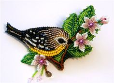 Bird brooch by Люб.Ник. Bead embroidery makes pretty neat things too ^^