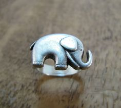 Elephant Ring Antiqued Silver Adjustable by CuteAbility on Etsy, $10.00 -- omigoodness ilovethis!