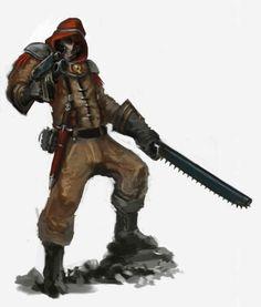 Tallarn Desert-Raider Tank-Ace Gear: good-quality laspistol/chainsword, combat-knife, sealed flak-suit, regimental-kit.