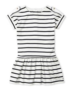 Chloé (Toddler Girls) White Stripe Drop Waist Dress