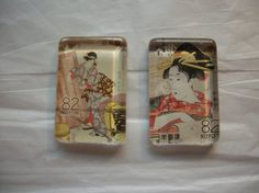2 Geisha Nippon Postage Stamp Glass Magnets One of by BadCatCraft