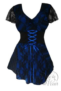 Dare To Wear Victorian Gothic Women's Plus Size Sweetheart Corset Top Blueberry