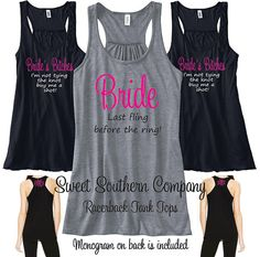 8 Personalized Bride and Bridesmaids Bride's Bitches Racerback Tank Tops - Great for the bachelorette party! on Etsy, $192.00