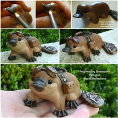 Fantastic Totally Free Polymer clay crafts cup Suggestions Handmade one of a kind Polymer clay Steampunk Platypus Sculpture by Mystic Reflections. Polymer Clay Kunst, Polymer Clay Animals, Polymer Clay Projects, Polymer Clay Charms, Polymer Clay Creations, Diy Clay, Clay Crafts, Polymer Clay Steampunk, Steampunk Animals