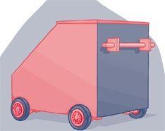opbergbox op wielen voor schuine wand