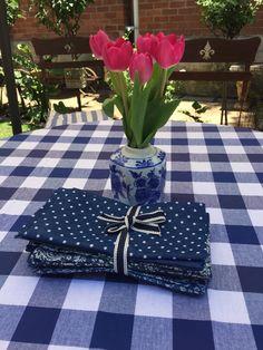 Navy checks and denim napkins..beautiful