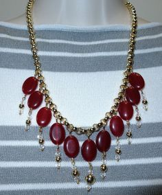 Fabulous Estate Vintage Modernist Runway Red Glass & Crystal Necklace
