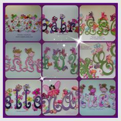 cut out letters for girls. can match your decor or linen www.ivyjade.webs.com facebook - fantasy creations