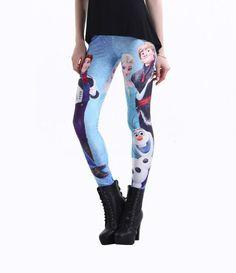 Frozen Print Leggings Yoga Pants Pattren Women Printed Leggings Disney Cartoon