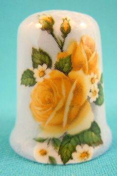 RP: Bone China Thimble with Yellow Rose | eBay.com