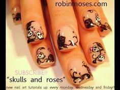 RETRO GIRLIE SKULLS AND BLACK ROSES: robin moses nail art design tutorial