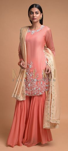 Buy Online from the link below. We ship worldwide (Free Shipping over US$100)  Click Anywhere to Tag Shrimp-Peach-Sharara-Suit-With-Zardozi-Embroidered-Floral-Pattern-Online-Kalki-Fashion-Online-Kalki-Fashion