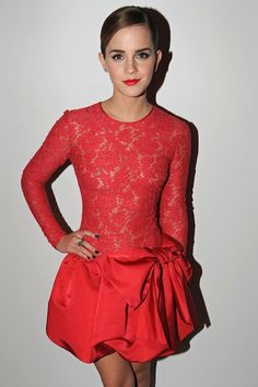 Emma Watson wowed in a red lace Valentino dress at the 'Roses By.' Lancome Pre-BAFTA event in London. Emma Watson Stil, Emma Watson Dress, Emma Watson Beautiful, Emma Watson Sexiest, Vestidos Emma Watson, Glamour, Emma Watson See Through, Emma Watson Images, Evolution Of Fashion