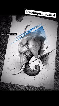 Tatoo Elephant, Elephant Tattoo Design, Elephant Art, Wolf Tattoos, Animal Tattoos, Body Art Tattoos, New Tattoos, Animal Sketches, Animal Drawings