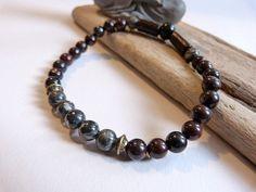 Bracelet homme ou mixte en jaspe poppy et jaspe ocean , esprit zen ,ethnique . : Bracelet par un-amour-de-perles-bijoux