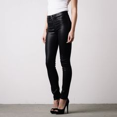 Womens High Waisted Skinny Jeans In Black Coated Powerstretch   DSTLD Luxury Jeans & Essentials   No Retail Markup