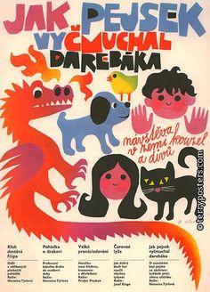 czech children's illustrations retro poster