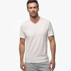 Cotton Linen V-neck tee. Bound mitered soft v-neckline. Short sleeves with a relaxed, easy fit.  Cotton Linen Jersey has the light, airy quality of linen with the softness and durability of cotton.  Additional Information:• 70% Cotton, 30% Linen• Fabric: YH• Made in Japan• Garment washed with extra softeners for a soft, lived in feel• Length: 27 1/2 in.
