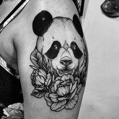 Search inspiration for a Blackwork tattoo. Peony Flower Tattoos, Rose Tattoos, Body Art Tattoos, Small Tattoos, Dream Tattoos, Future Tattoos, Tattoos For Guys, Chakra Tattoo, Panda Bear Tattoos