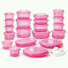 Pink kitchen plasticware Containers.