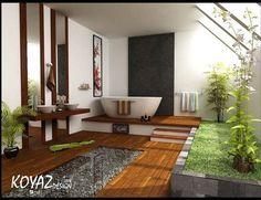 green tropical bathroom - would rather bury tub halfway thru raised dias