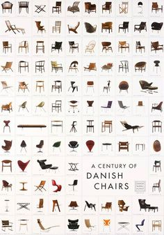 A Century of Danish Chairs Poster Great reference to match shapes of vintage items found.....