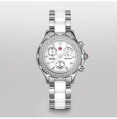 Tahitian White Ceramic and Stainless Steel Diamond.  One hundred sparkling diamonds encircle the stainless steel and white ceramic case. The chronograph dial features signature Michele numerals and red logo crown. #SkaneatelesJewelry #Skaneateles #WhereCNYgetsENGAGED