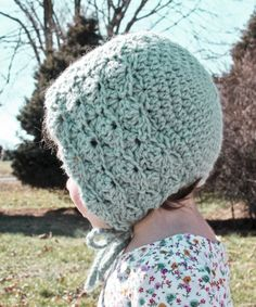 "Made from 80% acrylic/20% wool yarn. Finished bonnets fit these approx head circumference measurements: approx 12""-14"" (0-3 months), approx 14""-16"" (3-6 months), 16""-18"" (6-12 months). Due to the hand"