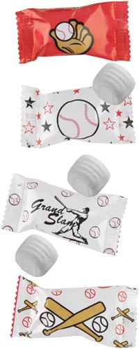 Baseball-themed buttermints by the case for wedding favors.